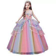 Unicorn flower Girl Dress Princess Party Long Gown birthday Match Headband