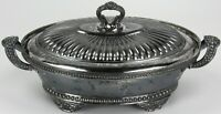 Antique Simpson Hall & Miller Co Quadruple Plate Oval Casserole Server With Lid