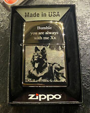 More details for custom zippo lighter windproof with photo words engraved high polish windproof
