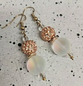 Pretty Pave Peach Crystal & Faux Moonstone Bronze Tone Drop Earrings -*NEW*
