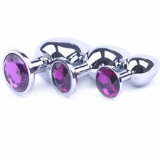 Unisex Butt Toy Plug Anal Insert Stainless Metal Steel Jeweled Sexy Stopper