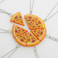 1 Pcs Collar Gargantilla Colgante Slice Pizza Amistad Amigas Necklace Regalo