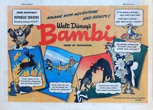 Walt Disney Bambi - cartoon Movie ad - 1948 color Sunday comic ad page