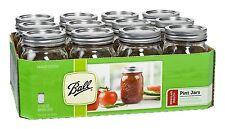 16 Oz Pint Clear Mason Canning Jars Lids Band Ball Regular Mouth Glasses 12 Pk
