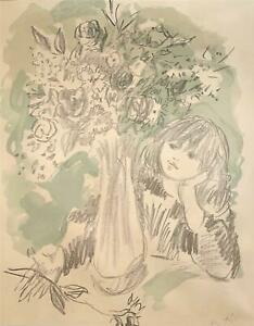 Marcel Vertes -Girl at Table w/ Floral Bouquet -Signed Lithograph -circa 1950s