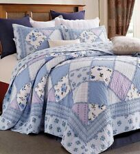Garden of Blues Full Queen Quilt Set : Country Cottage Ruffled Rag Purple Floral