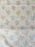 Vintage flat sheet floral cross stitch design linen sheet EUC