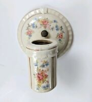 Vintage Antique Porcelain Sconce Wall Fixture Light Bathroom Floral