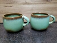 Frankoma Lazy Bones Cups Mugs Set of 2 Sapulpa Green Stoneware Pottery