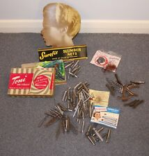 COLLECTION OF VINTAGE HAIR CURLERS & PERMING RODS, HAIR NETS.