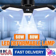 60/80W 8000LM Deformable LED Garage Light Super Bright Shop Ceiling Lights Bulb