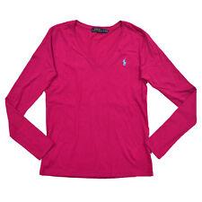 Ralph Lauren T Shirt Womens Jersey V Neck Pony Logo Sport Long Sleeve Nwt