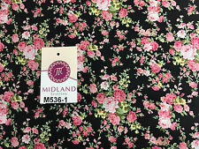 """Vintage Floral Shabby Chic Rose Bedruckt 100% Baumwolle Popeline Stoff 58"""" breit m536"""