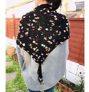 Alize black bulky yarn boho style with beige flowers shawl wrap-1QTY