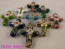 100 pcs Mixed colour cloisonne cross beads 27x19mm M458
