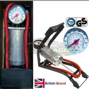 SW GS TUV Approved Car Bike Ball Air Beds Single Barrel Foot Pump + Adapters