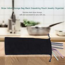 Reusable Straw Velvet Storage Bag Black Drawstring Pouch Jewelry Organizer Pack