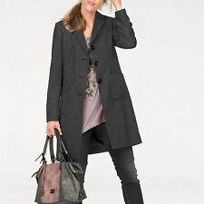 EDEL MARKEN Gr.38 MANTEL Wollmantel 30% Wolle Jacke Übergangsmantel schwarz grau