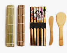 DIY Real Bamboo Sushi Making Kit 2 Different Rolling Mats 5 Pairs Chopsticks Set
