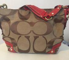 Coach Carly Khaki Brown Signature Large C Red Leather Trim Hobo Shoulder Handbag