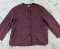 EUC J Jill Women's Wool Angora Sweater Jacket Mauve Purple Pockets Size XL