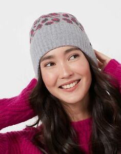 Joules Womens Trissy Jacquard Hat - Grey Leopard - One Size
