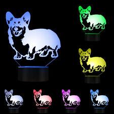 Cardigan Welsh Corgi Dog Breed 3D Table Lamp Pug Pet Animal Led Light Night Lamp