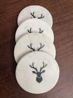 Coasters Marble Reindeer Christmas Set Of 4