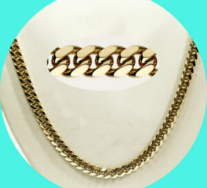"""Miami Cuban link chain thin necklace 14K yellow gold 6.35mm 24 1/4""""  64.3 GM"""