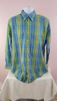 Peter Millar Weekender Finish Mens Multi Color Check Dress Button Shirt Sz large