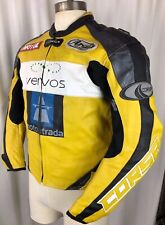 CORSA Yellow LEATHER Motorcycle Racing Jacket Mens 40 Armor Back Elbow Lined