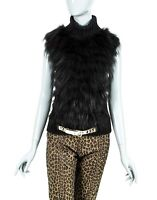 RARE GUCCI WOMENS CAMEL HAIR REAL FUR GILET BLOUSE TOPS KNIT SWEATER BELTED S