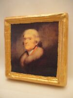Thomas Jefferson American President Gold Art Icon on Genuine Pine Wood Plaque