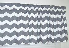 LINED Gray & White Chevron Window Curtain Valance Topper Zig Zag 14.99 FREE SHIP