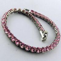 BRACELET BANGLE REAL 925 STERLING SILVER PINK DIAMOND SIMULATED TENNIS DESIGN