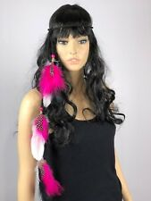 Feathered Headband Single Extension Pink White Handmade BOHO Hippie Festival