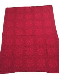 cloth tablecloth 48 x 62 red poinsettia textured Christmas floral pattern