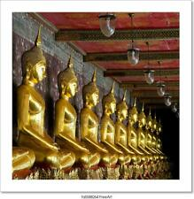 Golden Buddhas In Wat Sutat, Art/Canvas Print. Poster, Wall Art, Home Decor