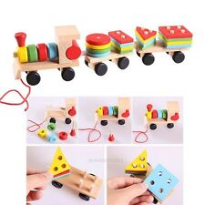 Kids Baby Educational Toys Toddler Wood Train Truck Educational Geometric Blocks