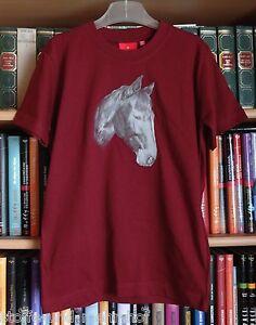 """T-Shirt mit Pferdemotiv """"Portrait"""" dunkelrot Gr. 152"""