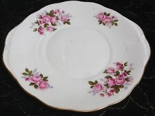 """Queen Anne English Bone China Rose Pattern #8575 w/Gold Rimmed Platter Plate 10"""""""
