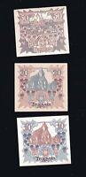 3x Notgeld Gutschein Markt-Commune TRAGWEIN Österreich  10,20,50 Heller  1920