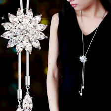 Fashion Women Crystal Rhinestone Snowflake Pendant Long Sweater Chain Necklace
