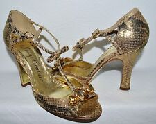 JUICY COUTURE 6.5 M GOLD SNAKE PRINT RHINESTONES T STRAP SANDALS MADE IN ITALY