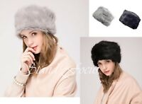 Women Lady Vintage Faux Fur Thick Russian Pillbox Cossack Ushanka Winter Hat Cap