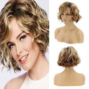 Women Short Wig Blonde Golden Brown Wig Curly Wavy Bob Fashion Wigs Cosplay Wigs