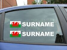 x4 Rally Tag Name Surname Car Window Stickers Decals Wales Welsh Flag ref:17