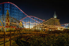 721087 Roller Coaster At Night A4 Photo Print