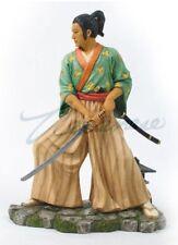 Japanese Samurai Warrior Sculpture With Sword in Striking Stance Statue Figurine