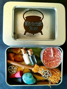 Witches Mini Travel Tin Kit Altar Spells Salts Potions Broom Witchcraft Wicca
